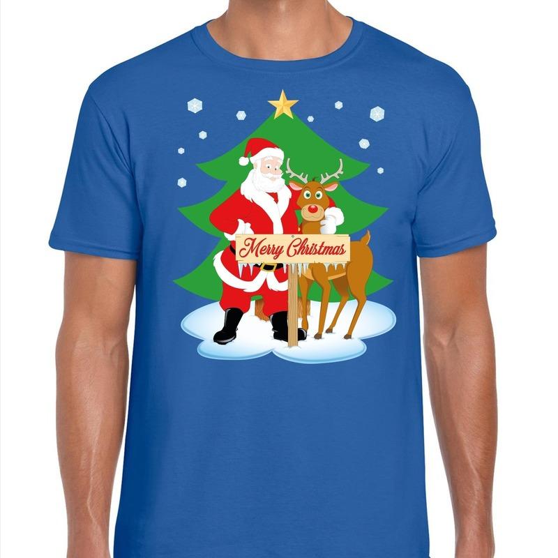 Foute Kerst t shirt kerstman en rendier Rudolf blauw heren