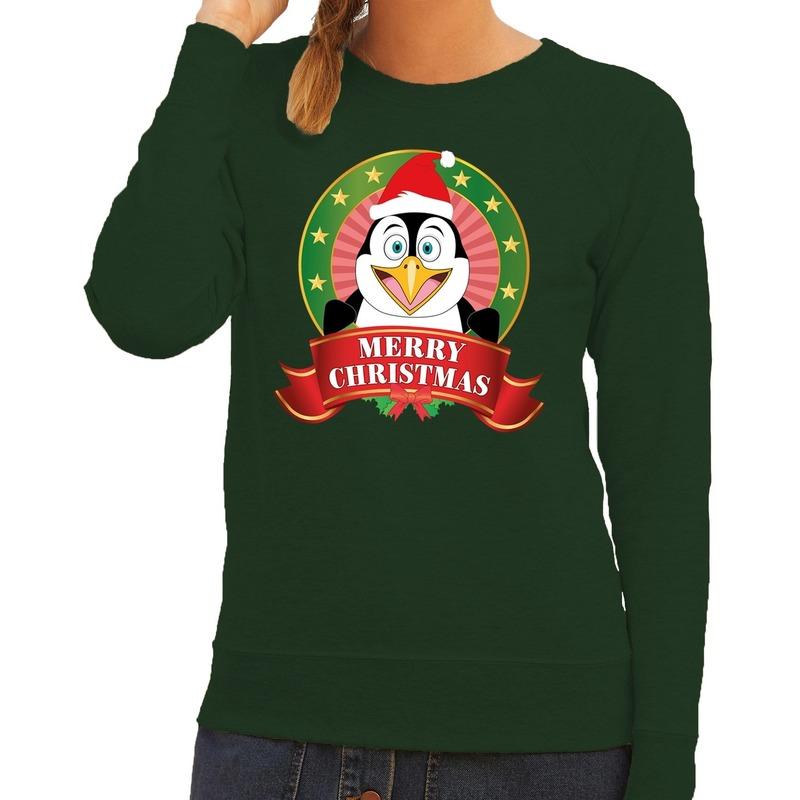 Foute kersttrui groen Merry Christmas pinguin voor dames