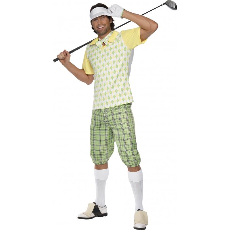 Fun kostuum van een golfer. het golfers kostuum is wit, geel en groen gekleurd. het golfers pak bestaat uit ...