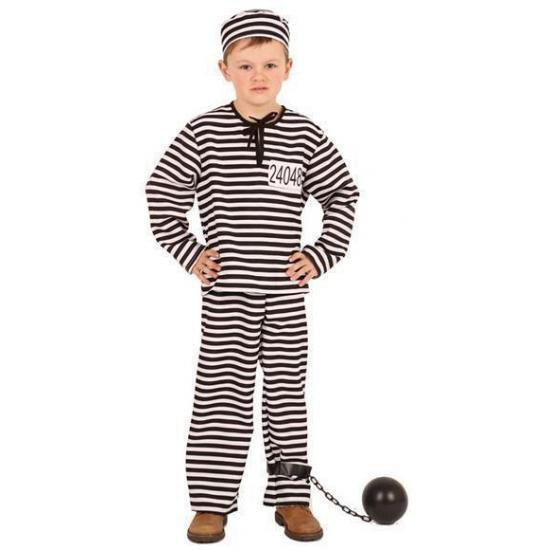 Gestreept gevangene kostuum voor kinderen. dit 3 delige kostuum bestaat uit een shirt, broek en petje. ...
