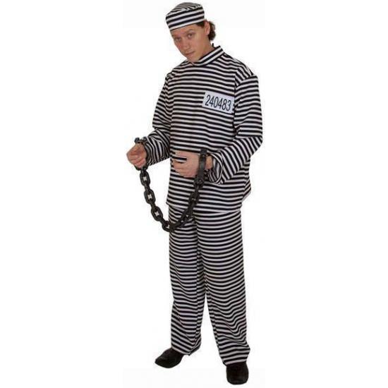 Gestreept gevangene kostuum voor volwassenen. dit 3 delige kostuum bestaat uit een shirt, broek en petje. ...