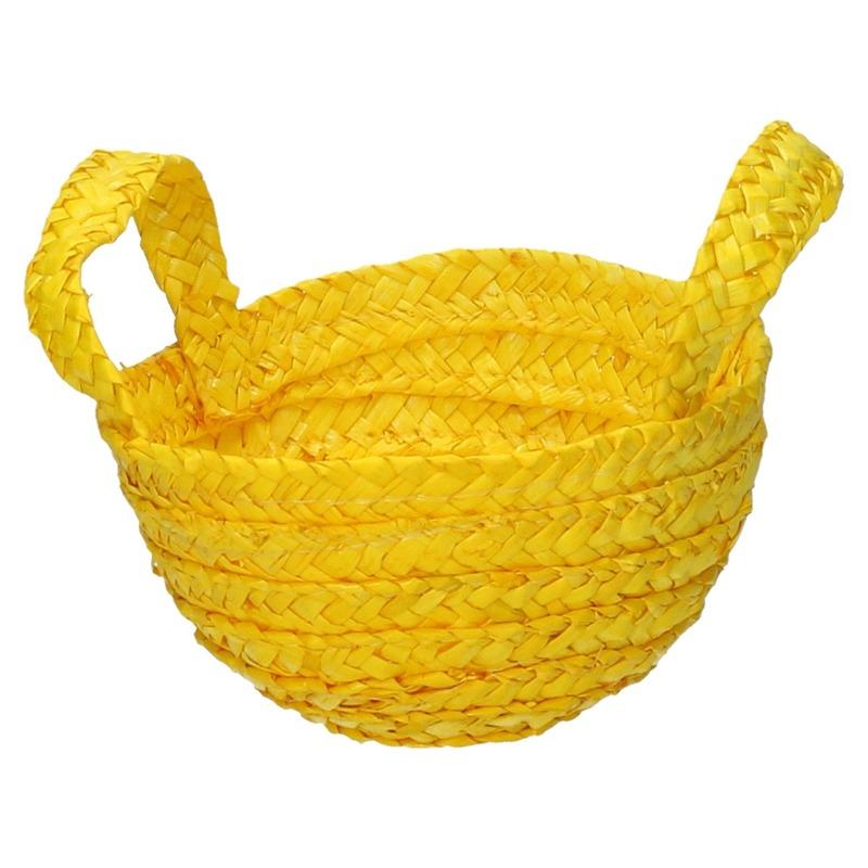 Gevlochten opbergmandje geel 15 x 18 cm