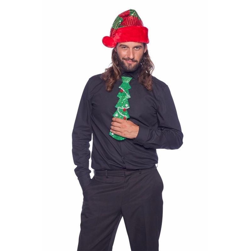 Glitter kerstboom stropdas met LED voor volwassenen