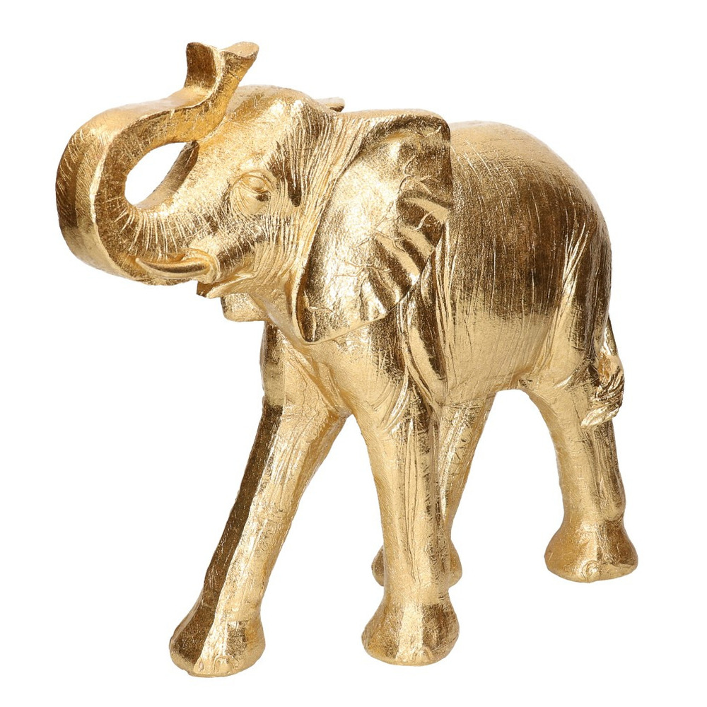 Gouden olifant beeld 33 cm voor in huis