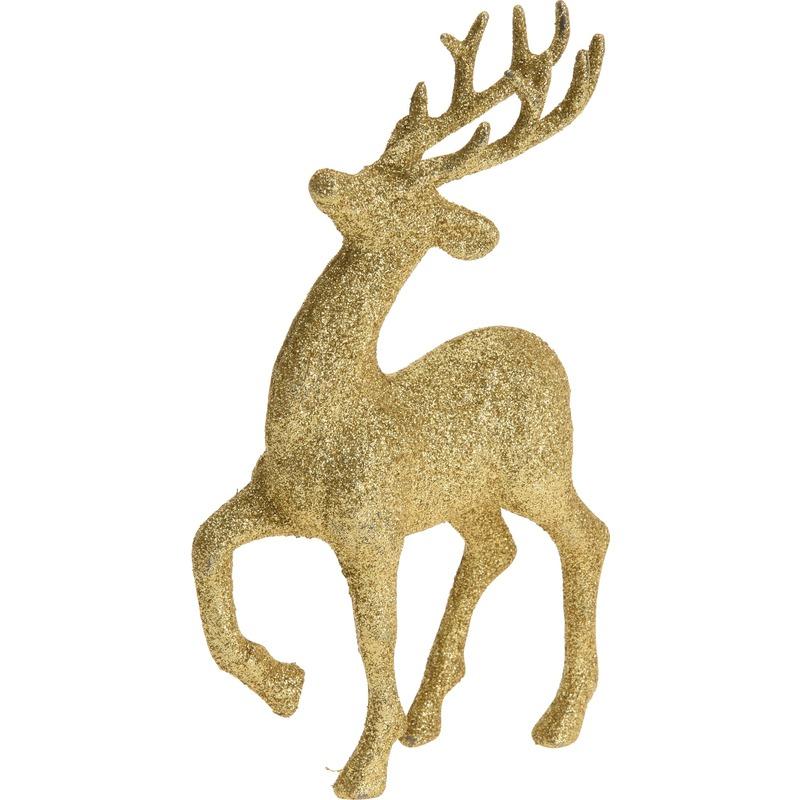 Gouden rendieren hertjes deco kersthangers van 17 cm