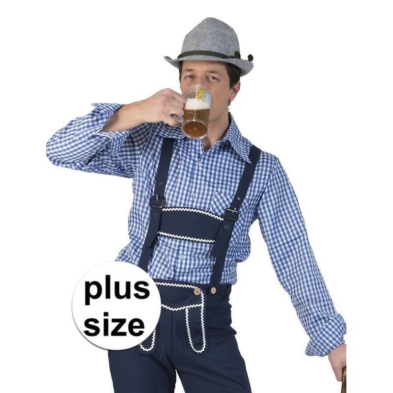 Grote maat blauw wit geruit tiroler verkleed overhemd voor heren