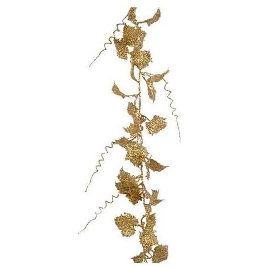 Guirlande lichtgouden blad met glitter186 cm kerstversiering