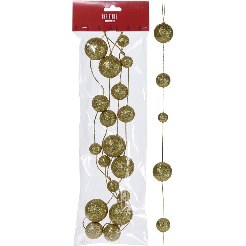 Guirlande ronde gouden balletjes 180 cm kerstversiering