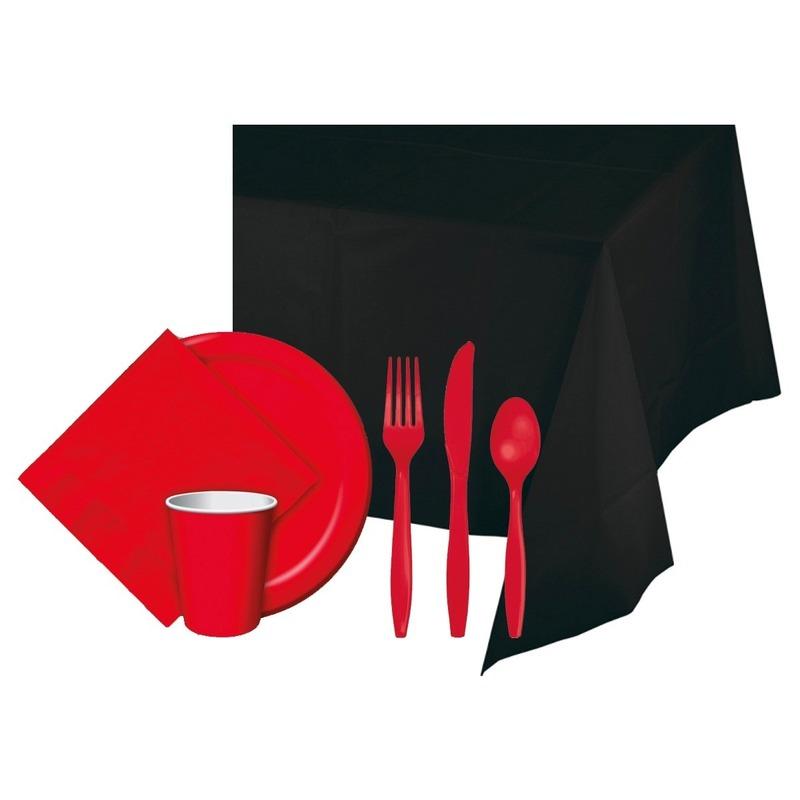 Halloween feestpakket zwart rood 8 persoons
