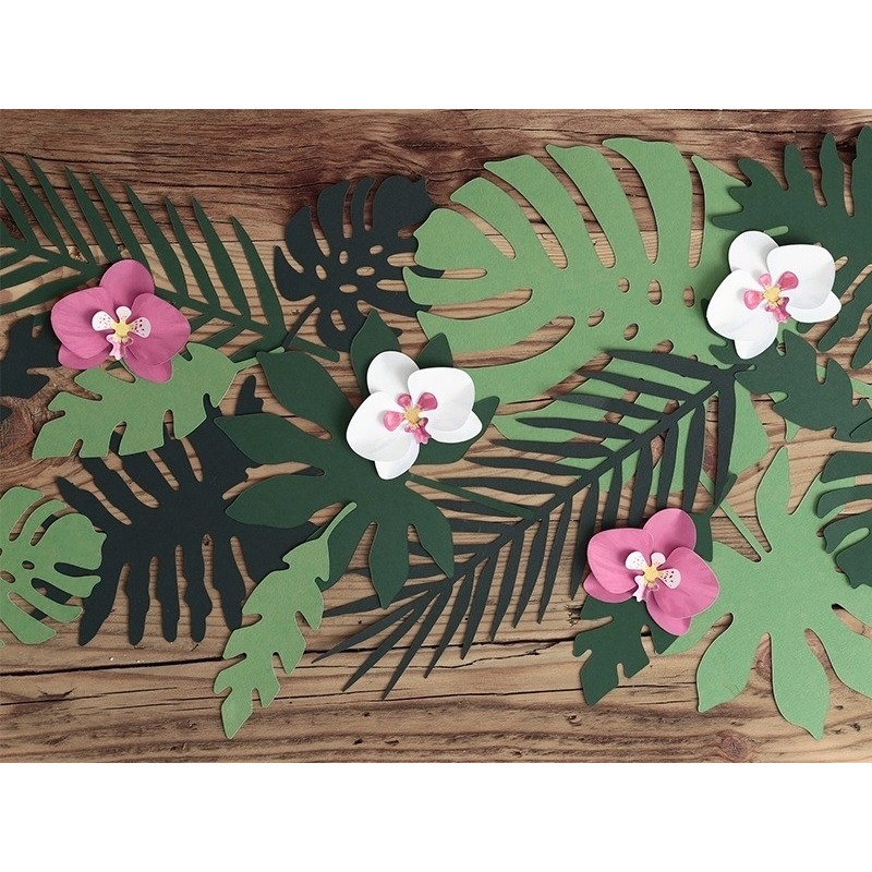 Hawaii decoratie orchidee bladeren 6 stuks