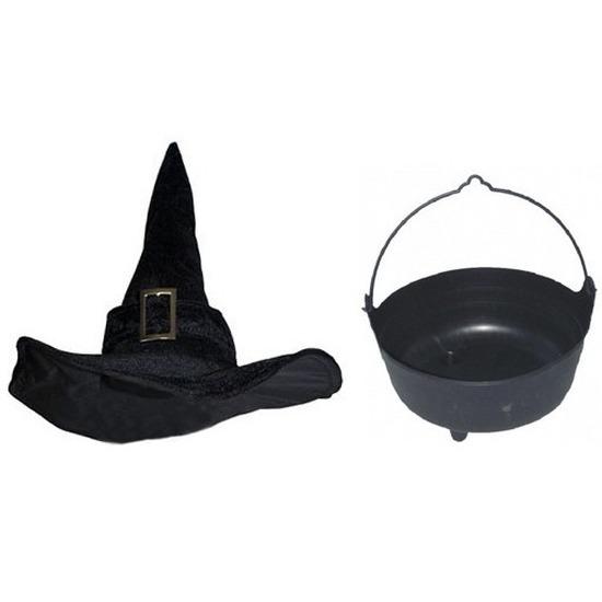 Heksen accessoires set fluwelen hoed met ketel 37 cm voor dames