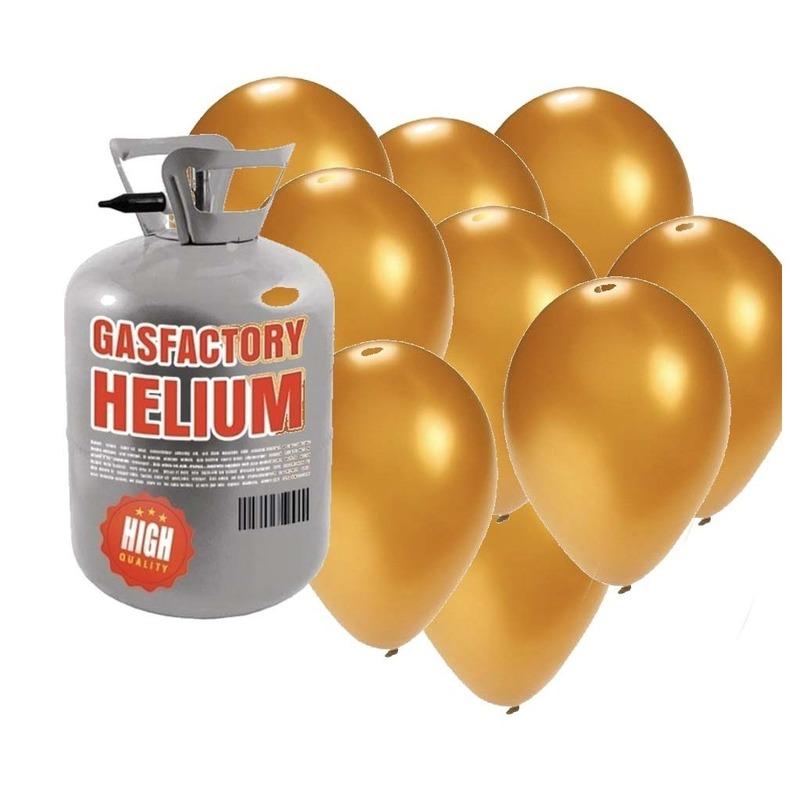 Helium tank met 30 gouden ballonnen