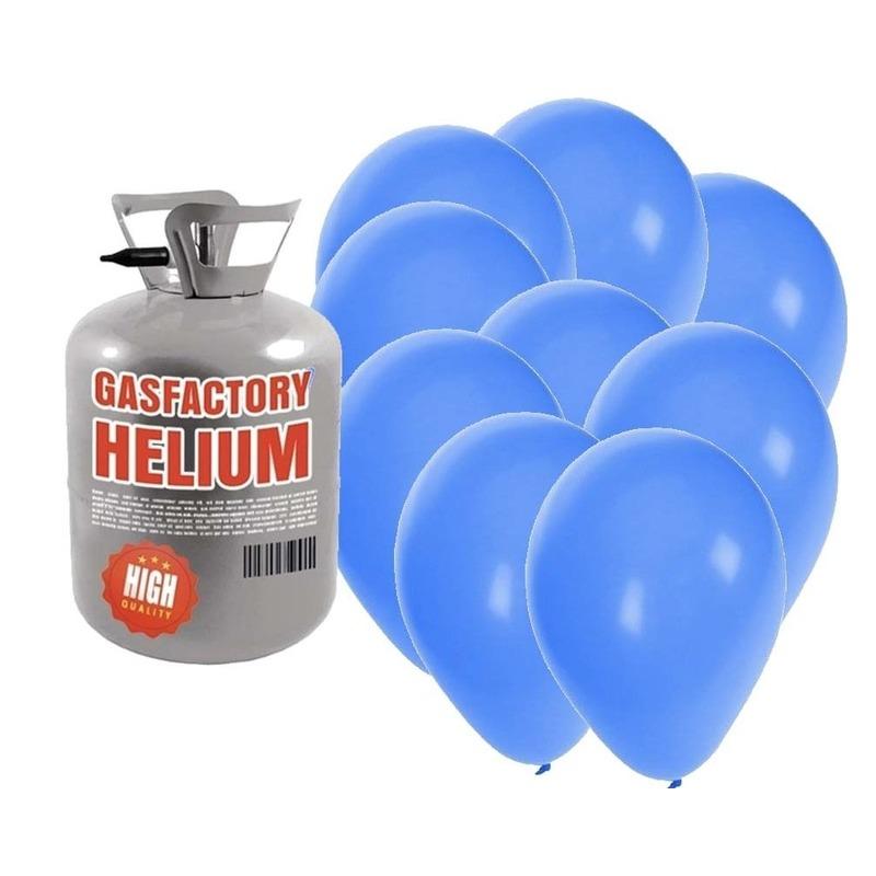 Helium tank met 50 blauwe ballonnen