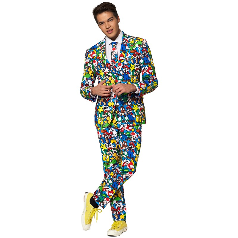 Heren verkleed pak-kostuum Super Mario print