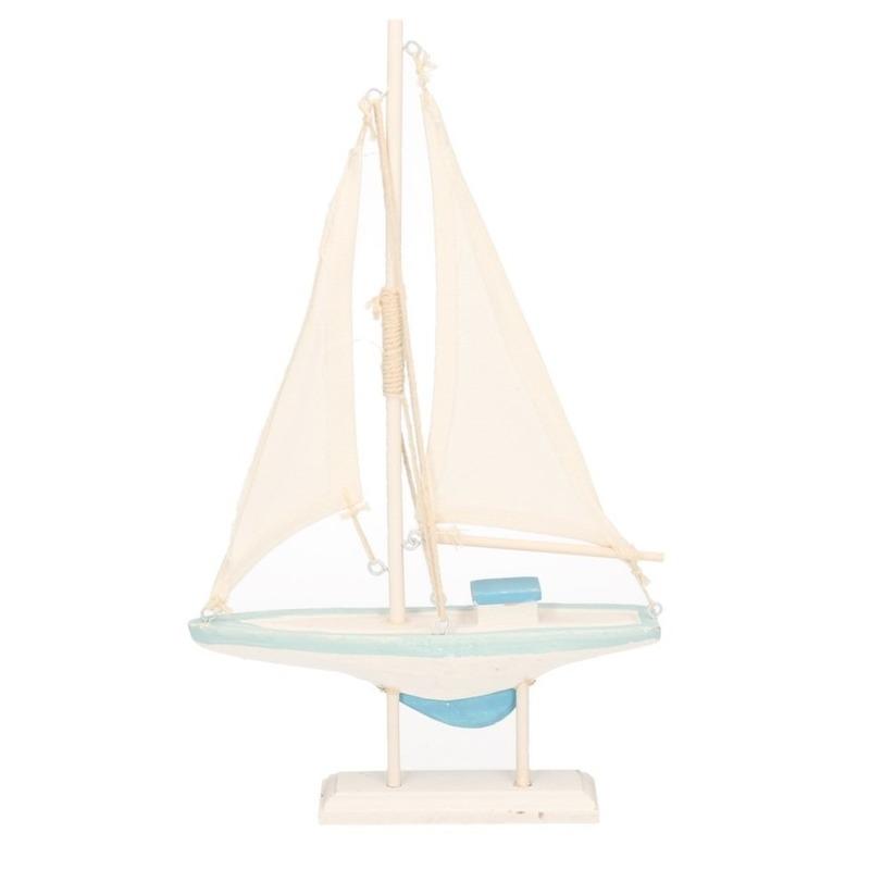 Houten decoratie boot blauw-wit 19 x 30 cm