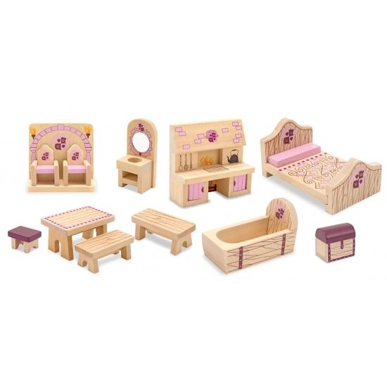 Houten kasteel poppenhuis meubels Princess