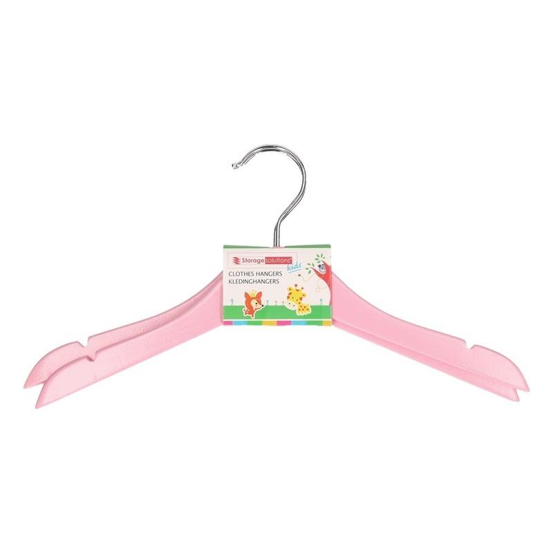Houten kledinghangers voor kinderen roze 2 stuks