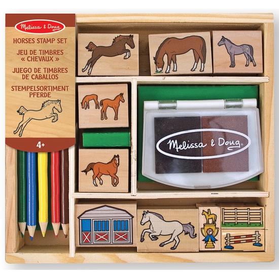 Houten paarden stempelset
