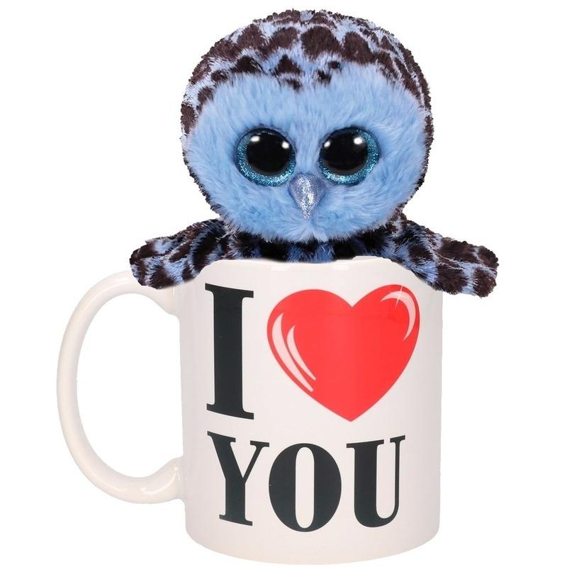 I Love You mok met blauwe knuffel uil