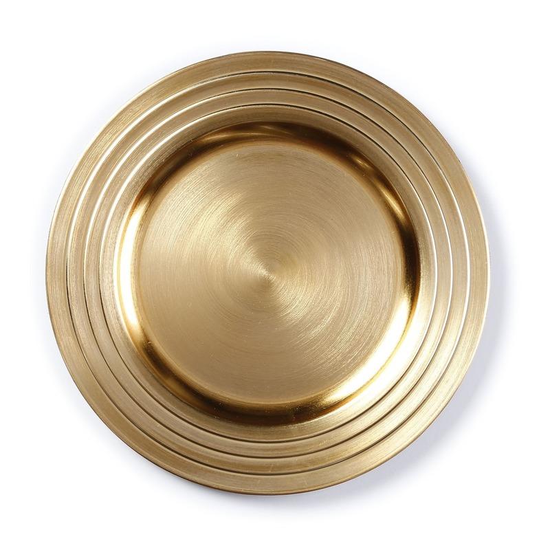 Kaarsenbord-plateau goud 33 cm rond