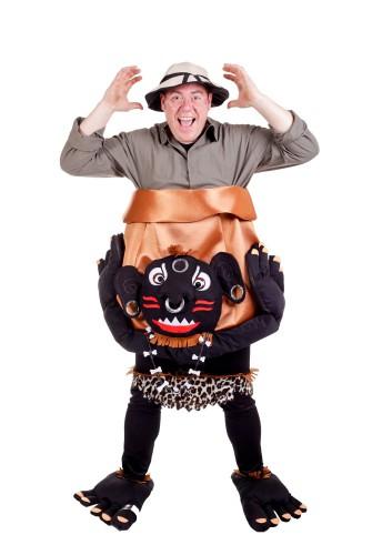 Kannibaal kostuum voor volwassenen. grappig kostuum van een ontdekkeingsreiziger in een ketel van een ...