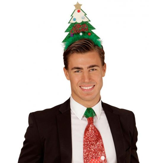 Kerst diadeem met groene kerstboom