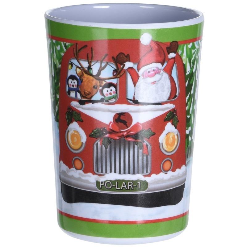 Kerst drinkbeker bus 11 cm