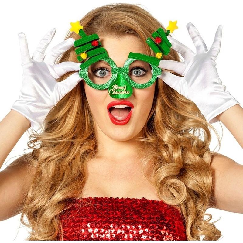 Kerst feest verkleed bril groen met kerstbomen voor volwassenen