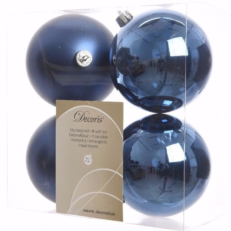 Kerst kerstballen blauw 10 cm Elegant Christmas 4 stuks