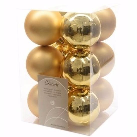Kerst kerstballen goud 6 cm Christmas Gold 12 stuks
