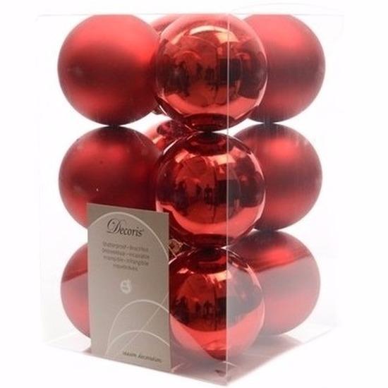 Kerst kerstballen rood 6 cm Elegant Christmas 12 stuks