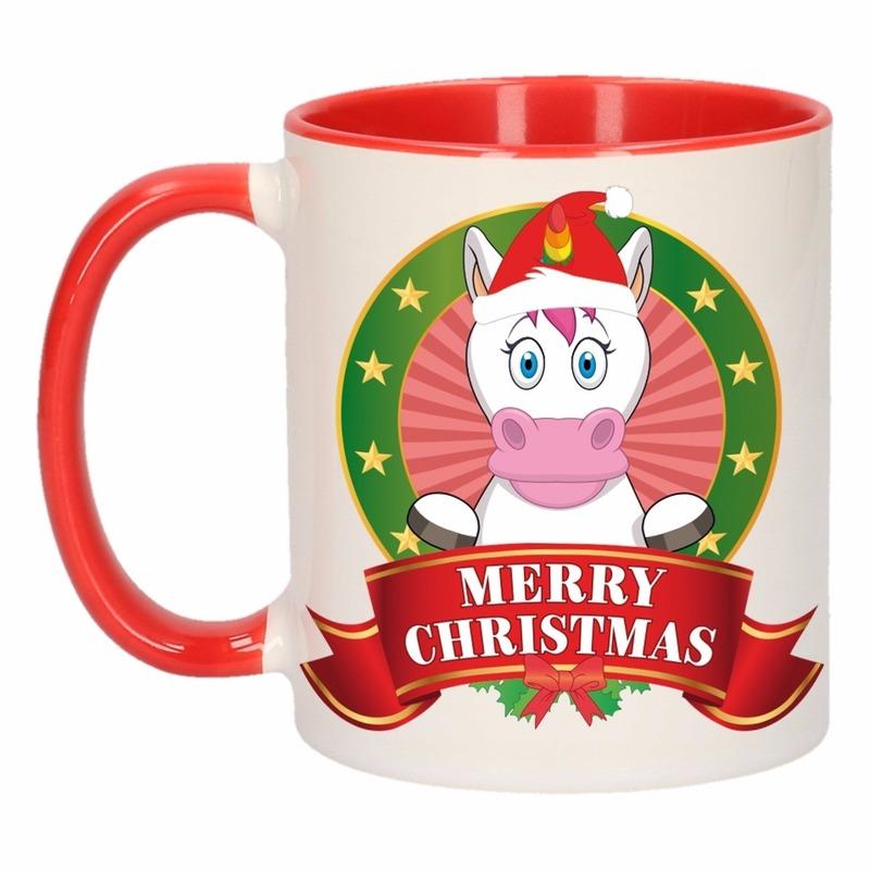 Kerst mok beker met eenhoorn print 300 ml