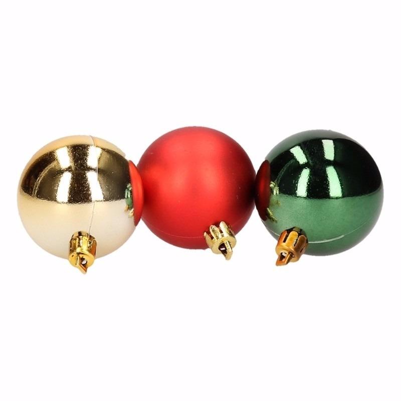 Kerst rood-groene kerstballen mix Traditional Christmas 5 stuks