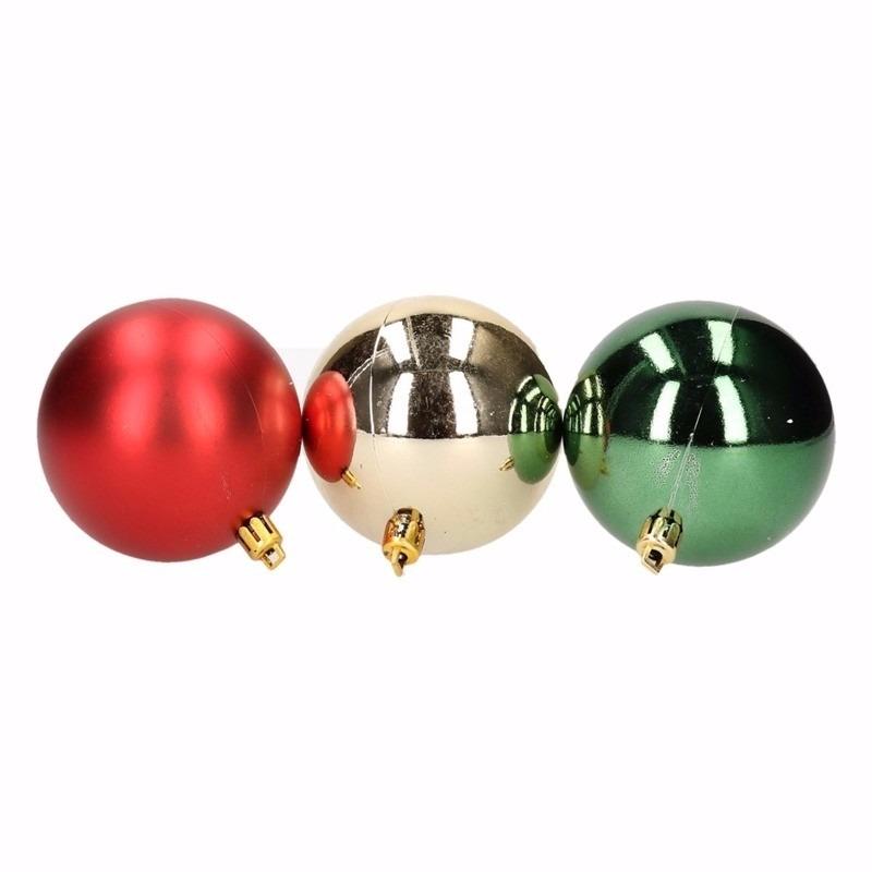 Kerst rood-groene kerstballen mix Traditional Christmas 9 stuks