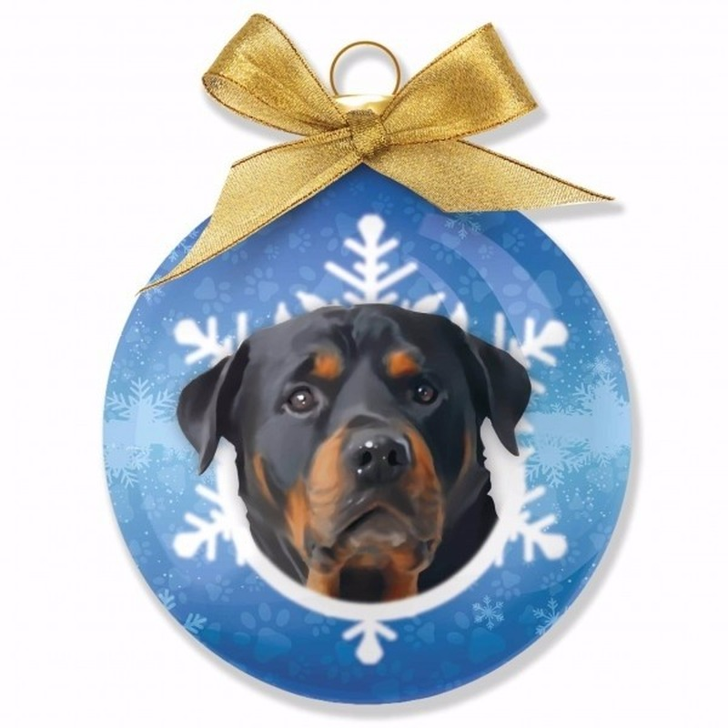 Kerstboom decoratie kerstbal hond Rottweiler 8 cm