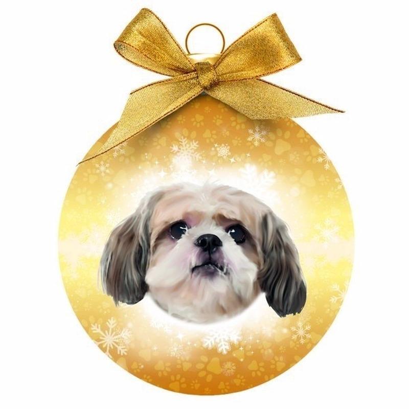 Kerstboom decoratie kerstbal hond Shih Tzu 8 cm