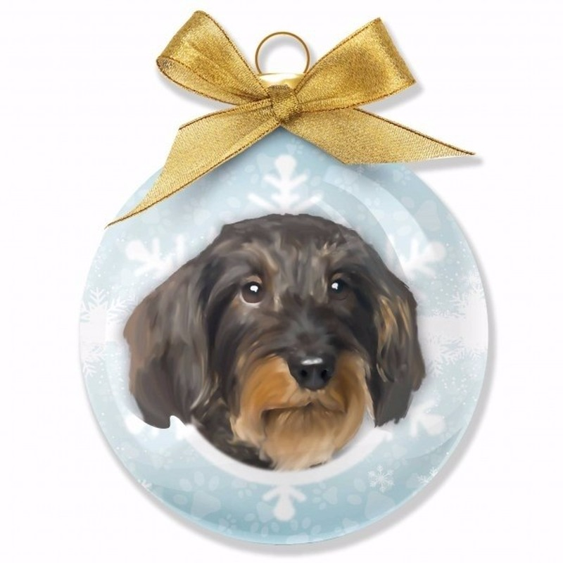 Kerstboom decoratie kerstbal hond Teckel 8 cm