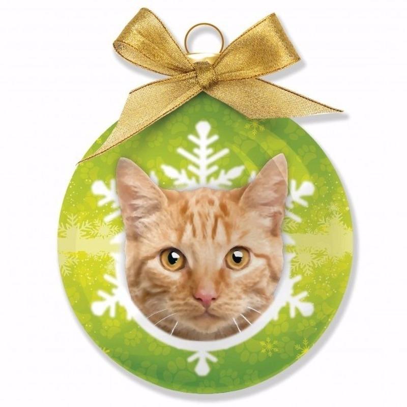 Kerstboom decoratie kerstbal kat-poes rood Tabby 8 cm