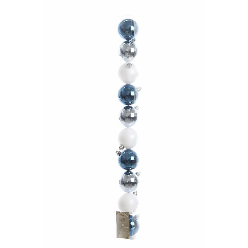 Kerstboom decoratie kerstballen mix blauw-wit 10 stuks
