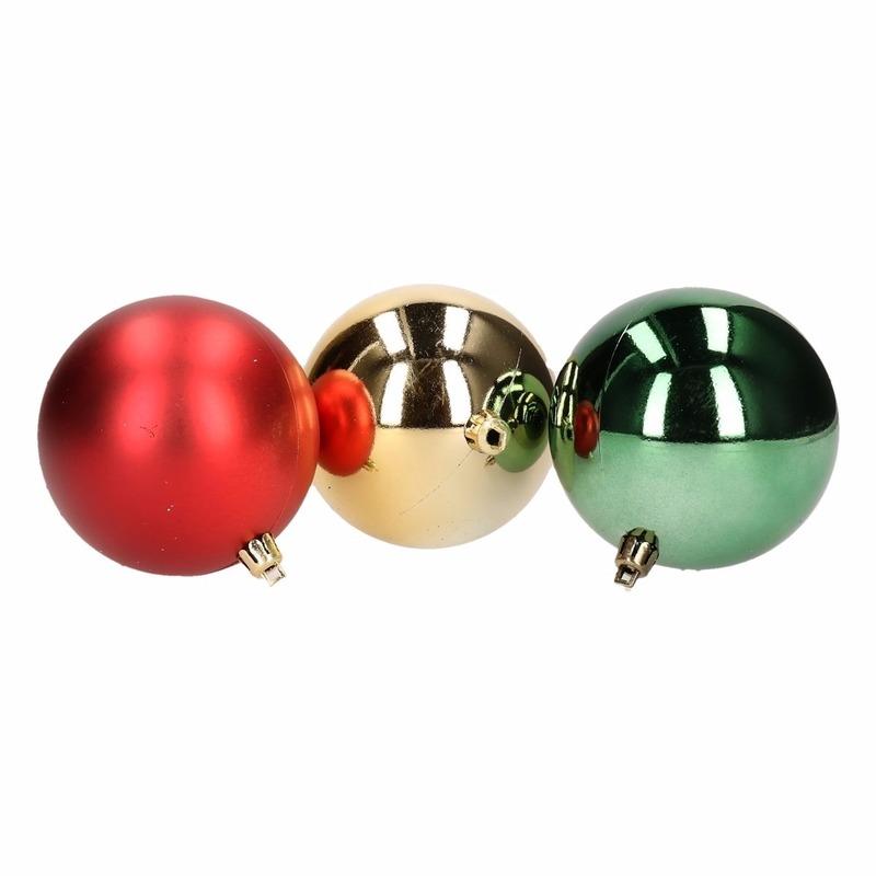 Kerstboom decoratie kerstballen mix rood groen 5 stuks