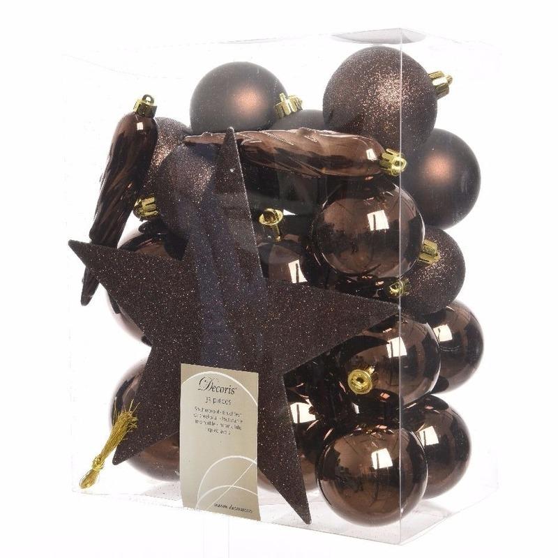 Kerstboom decoratie kerstballen set bruin 33 stuks