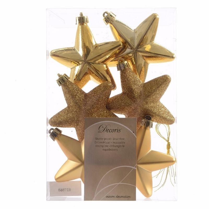 Kerstboom decoratie sterren goud 6 stuks Ambiance Christmas 7 cm