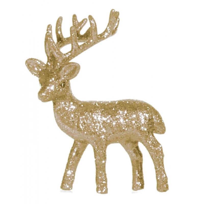 Kerstdecoratie goud glitter rendieren decoraties 10 cm
