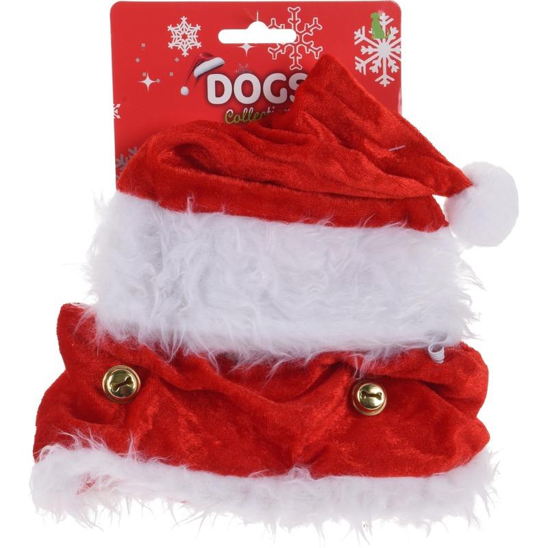 Kerstkleding voor honden kerstmuts met halsband