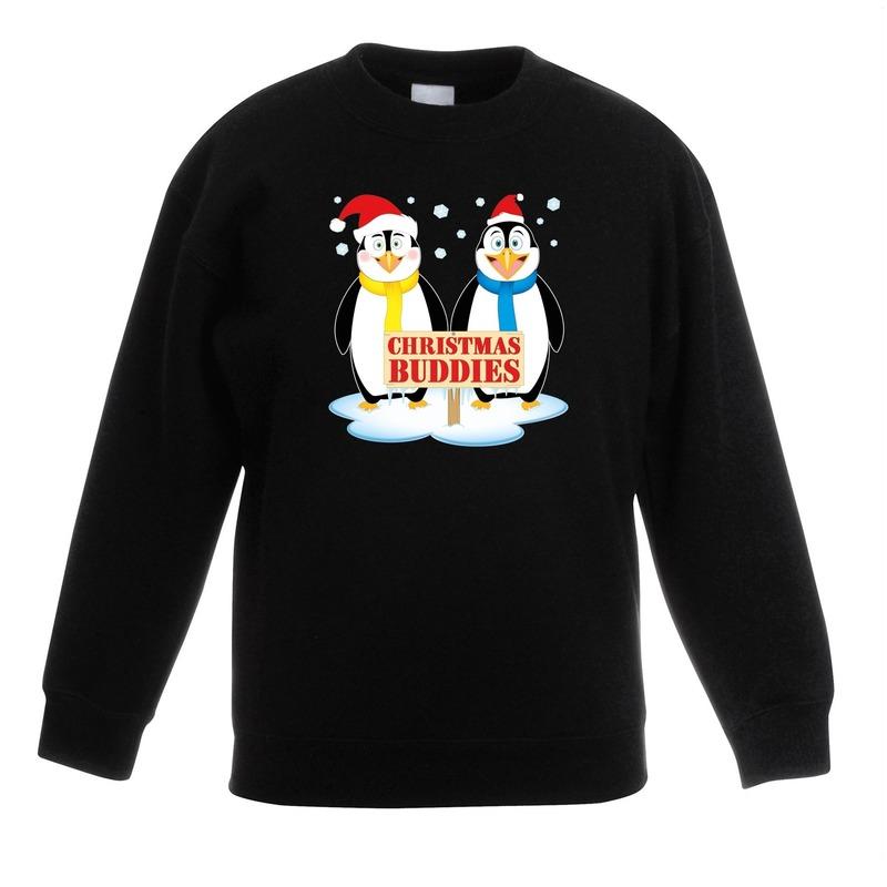 Kersttrui met pinguin vriendjes zwart kinderen