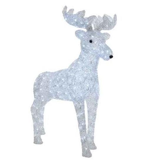 Kerstverlichting grote LED figuren voor buiten rendier wit 87 cm