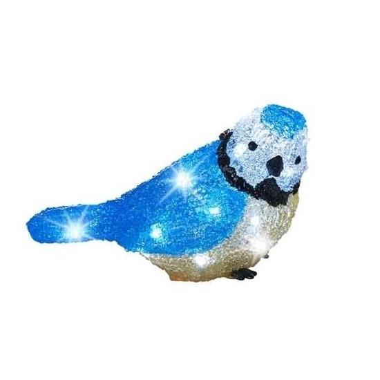 Kerstverlichting LED figuren voor buiten blauwe vogel 22 cm
