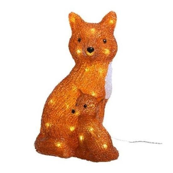 Kerstverlichting LED figuren voor buiten vos met jong 35 cm