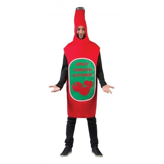 Ketchup fles kostuum. rood kostuum met daarop de tekst spicy tomato ketchup. one size model.