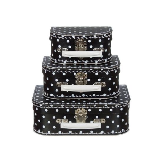 Kinderkoffertje zwart met witte stippen 20 cm